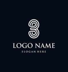3three outline typography abstract numeric logo vector