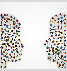 A group of people in a shape of two profiles vector