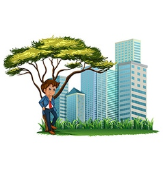 A man under the tree across the tall buildings vector