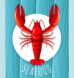a red lobster on the plate vector image