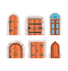 ancient doors wooden stone medieval and old vector image