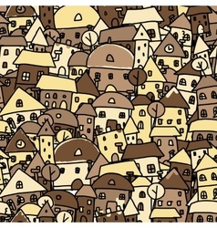 Autumn city seamless pattern for your design vector image