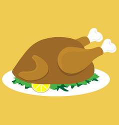 Baked chicken on a plate vector