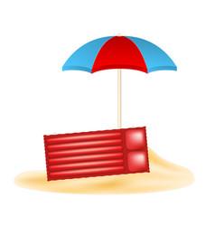Beach concept with beach umbrella and air mattress vector