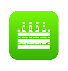 beer wooden box icon digital green vector image