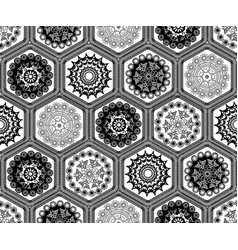 Black and white hexagon doily crochet patchwork vector