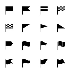 black flag icons set vector image