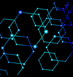 Blue light connected dots abstract background vector