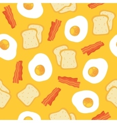 Breakfast seamless pattern with eggs and bacon vector