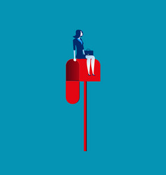 Businesswoman sitting on a mailbox concept vector