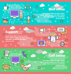call center concept flat line art banner vector image