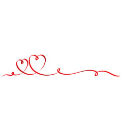 calligraphy two red heart ribbon on white stock vector image