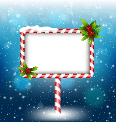 Candy cane billboard with holly in snowfall vector