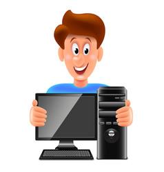 cartoon computer repair man isolated vector image