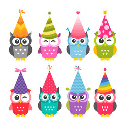 Cartoon funny owls with birthday party hats vector