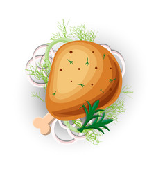 chicken grilled leg icon isolated on white vector image