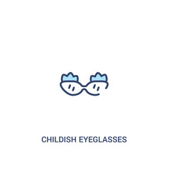 Childish eyeglasses concept 2 colored icon simple vector