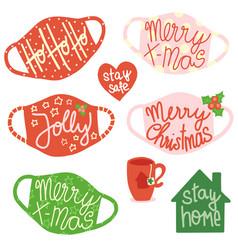 Christmas face masks social distancing icon vector