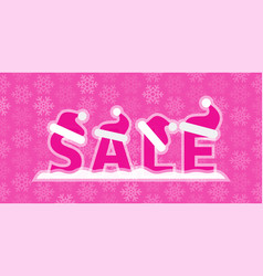 christmas sale with snow and santa vector image vector image