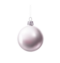 christmas tree ball silver realistic toy vector image
