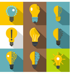 creative lightbulb logo icons set flat style vector image