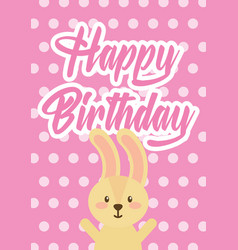 cute bunny happy birthday greeting card dots vector image