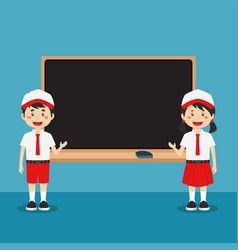 Cute indonesian elementary school with board vector