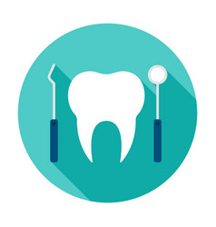 dentist tools circle icon vector image