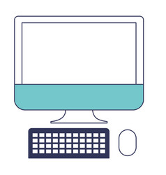 desktop computer icon in blue color sections vector image