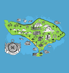 Drawing bali map vector