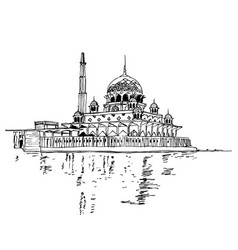 Drawing sketch putra mosque malaysia vector