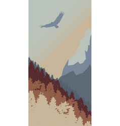 Eagle in mountains vector
