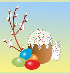 Easter eggs in assortment an Easter cake and a wil vector