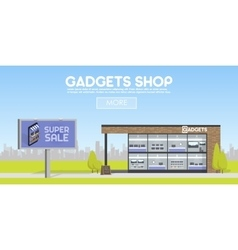 Facade gadgets shop in the urban space the sale vector image