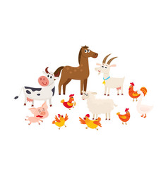 farm animals grazing in the pasture grazing vector image