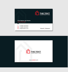 Flat business card with red logotype housing vector