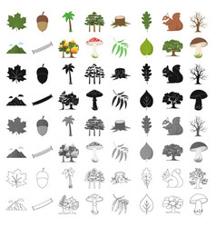 Forest set icons in cartoon style big collection vector