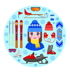 girl and winter equipment vector image
