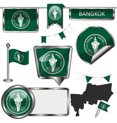 glossy icons with flag of bangkok vector image