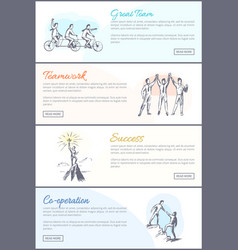 Great team web pages collection vector
