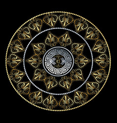 greek floral 3d mandala pattern vector image