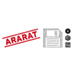 Grunge ararat line seal and mosaic floppy disk vector