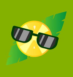 Hand drawn cool lemon with glasses isolated vector