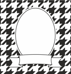 Hand drawn frame on houndstooth black and white vector