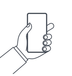 hands holding mobile phone line icon vector image