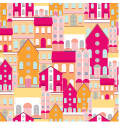 house buildings home seamless background pattern vector image