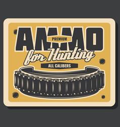 Hunting sport ammunition vintage banner design vector