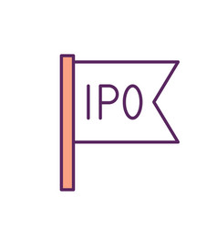 initial public offering rgb color icon vector image