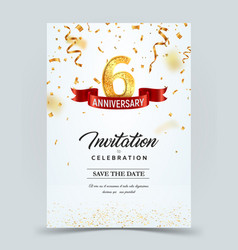 Invitation card template 6 years anniversary vector