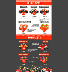 japanese cuisine asian food menu template vector image